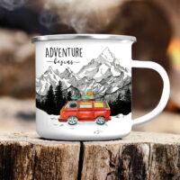 """Cana metalica emailata personalizata """"Adventure Begins"""", M/2077"""