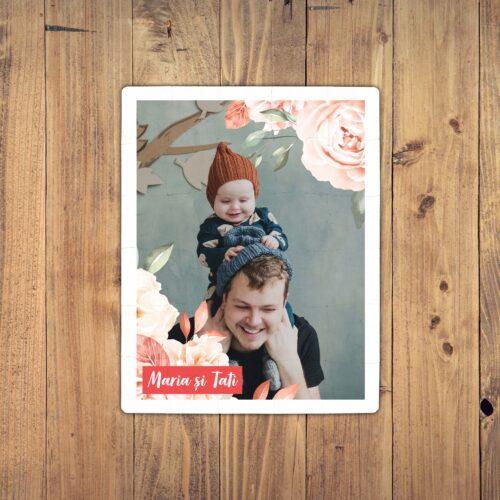 puzzle personalizat cu o poza, flori si text